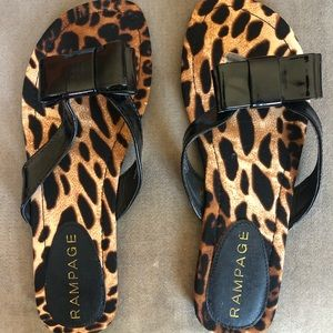 Rampage leopard flip flop sandals with bow